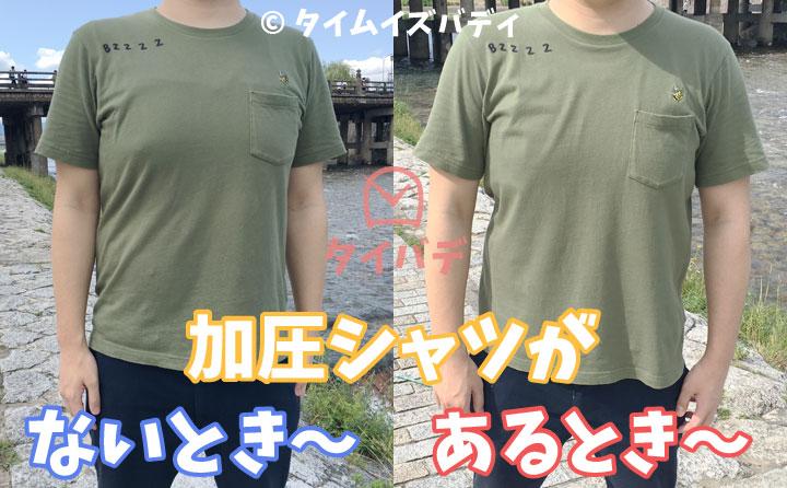 加圧シャツのビフォーアフターの正面